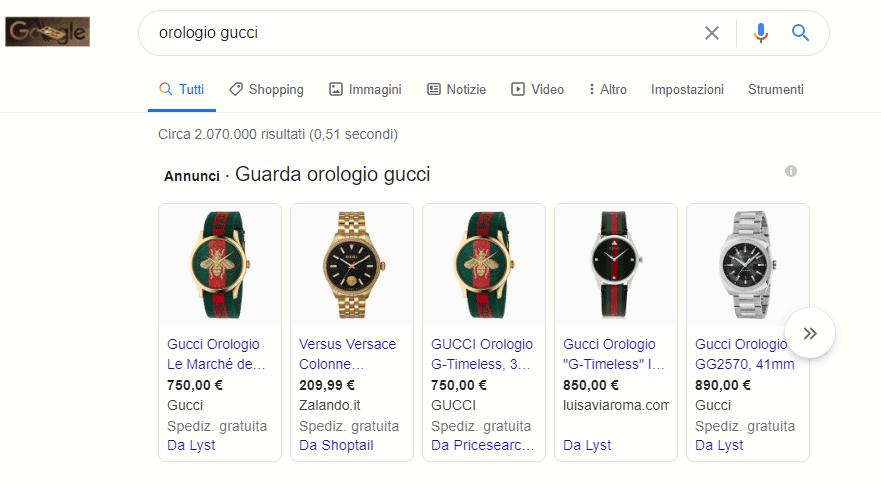 Esempio SERP digitando Orologio Gucci