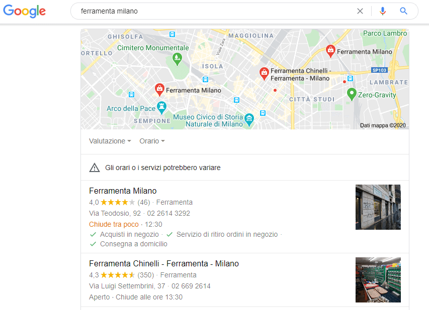Esempio uso Google My Business digitando ferramenta milano
