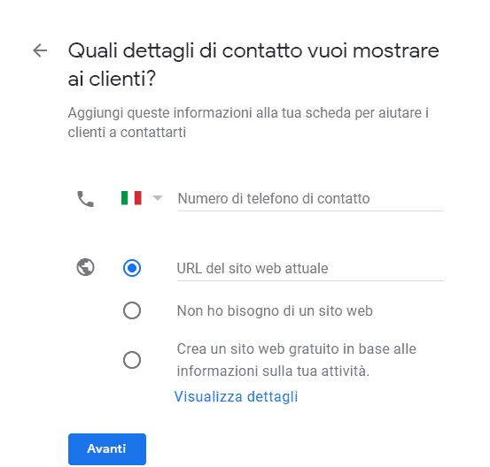 Schermata accesso Google My Business