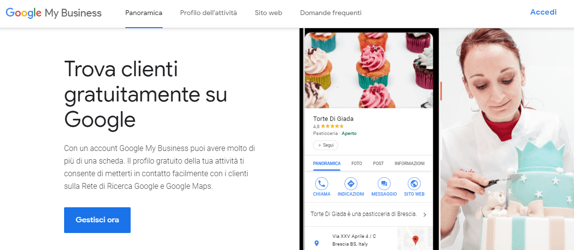 Schermata di Google My Business