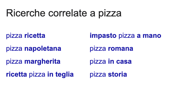 ricerche correlate a pizza su google