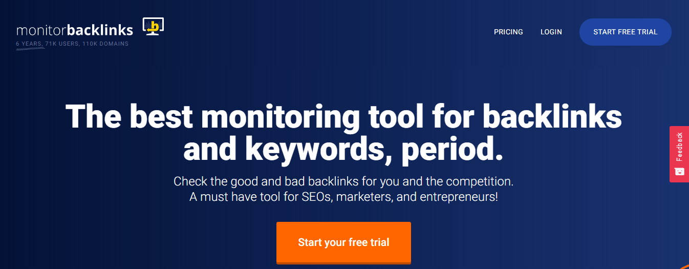 Monitor Backlink homepage